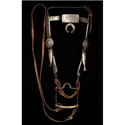 Navajo Headstall Made of 18GA Silver and Leather Approx. 2.5 LB  with Silver Appointed Bit All Origi