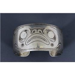 "Silver Bracelet with Frog Design Signed LKM 6 1/4"" L. 1 1/4"" W.  Fine Condition"
