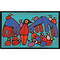 """Norval Morrisseau Painting on Canvas of a Grouse with Babies 30""""x 48""""  Fine Condition"""