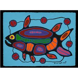 """Norval Morrisseau Painting on Paper of Spirit Fish 22 1/2""""x 30""""  Fine Condition"""