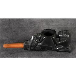 """Superb Argillite Pipe Carved with Human, Raven and Frog by Ron Russ 6 1/2"""" L. 2"""" H.  Fine Condition"""