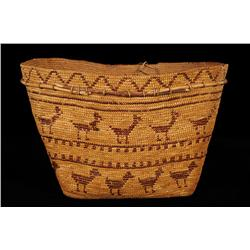 """Superb Chilcotin Fully Imbricated Burden Basket with 29 Zoomorphic Figures and Willow Strip 17 1/4"""""""