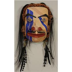 """""""Tx'amsemin in Human Form"""" Mask with Carved Silver Medallion Eyes, Horsehair and Cedar Bark Trim Car"""
