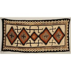 """Navajo Rug ca. 1920 with Rolling Log Pattern 48""""x 98"""" with Letter of the Rugs Provenance  Very Good"""