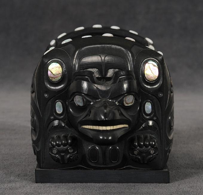 Jay Simeon Argillite Bulge Box Carved with Bear Mother Motif
