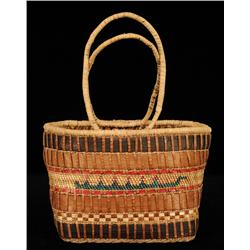 """Nuu-chah-nulth Carry Basket with Canoe Design10"""" L. 6"""" W.  Fine Condition"""