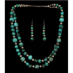 Navajo Two Strand Silver and Turquoise Necklace and Earrings  Fine Condition