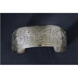 "Northwest Coast Silver Bracelet with Split Killer Whale Design Signed JTC  6 3/8"" L. 1"" W.  Fine Con"
