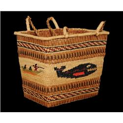 Nuu-chah-nulth Double Woven Carry Basket with Whale, Eagle, Canoe and Whalers Motif Made by Alice Pa