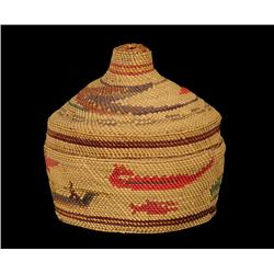 """Makah Lidded Wool Basket with Sea Monster, Whale, Canoe and Bird Designs 5"""" D. 5"""" H.  Fine Condition"""