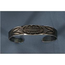 Navajo Silver Bracelet with Notched and Scalloped Borders, Geometric Stamping and Twirling Logs Desi