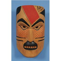 "Nuu-chah-nulth Yew Wood  Wildman Mask Carved by Doug David 13 1/2"" H. 8"" W.  Fine Condition"