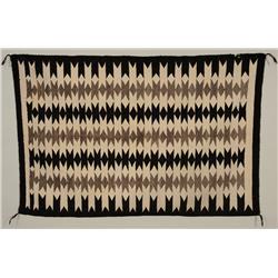 "Navajo Wool Rug ca. 1940  38""x 62""  Good Condition with Minor Edge Loss"