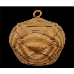 "Inuit Lidded Basket with Diamond Design 8"" D. 7 1/2"" H.  Fine Condition"