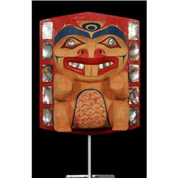 """Northwest Coast Beaver Frontlet  - Carved Alder Wood with Abalone Inlay by Klate Bhi 8"""" H. 6 3/4"""" W."""