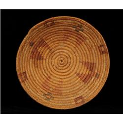 """Apache Basketry Bowl with Polychrome Geometric Design 13 1/2"""" D. 3 3/4"""" H.  Good Condition"""