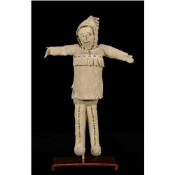 """Athabascan Fully Costumed Buckskin Doll 11"""" H.  Good Condition"""