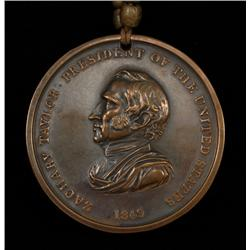 Zackery Taylor Bronze Peace Medal Dated 1849 Strung on Hairpipe and Brass Beads  Good Condition