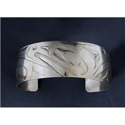 "Silver Bracelet - Raven with Broken Beak Design Signed LKM 6 1/4"" L. 1"" W.  Fine Condition"