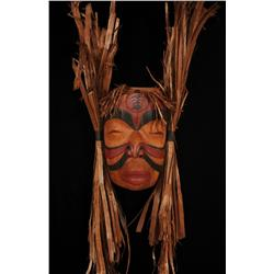 """Transformation Mask Carved by Clint Work 14"""" H. 9"""" W. Not Including Cedar Bark  Fine Condition"""