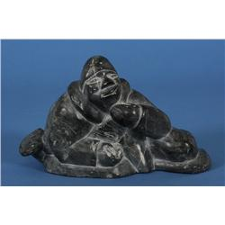 """Inuit Sculpture of a Man with Fish Signed Joshua Joe 1-53570 7 1/4"""" L. 4 1/4"""" H.  Good Condition"""