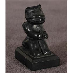 "Haida Argillite Bear Sculpture by Bernard Kerrigan 1 1/2"" D. 1"" W.  Fine Condition"