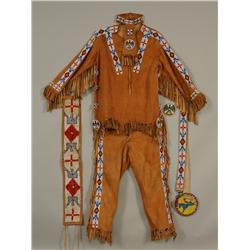 Complete Beaded Native Man's Dance Regalia with Shirt, Leggings, Necktie and Belt - Loom Beaded - 38