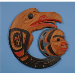 """""""Raven Stealing Moon"""" Panel Carved by Kenny McNeil 1989 35 1/2"""" H. 36"""" W.  Fine Condition"""