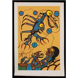 """Norval Morrisseau Silkscreen """"The Visionary"""" 14/62  31 1/2""""x 45 1/2""""  Good Condition"""