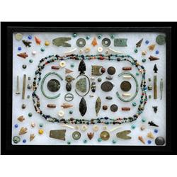 Collection of Artifacts Including 20 Arrowheads, Copper Pendants, Tube Beads, Bracelets, Trade Goods