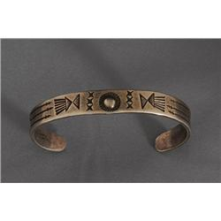 """Pueblo Ingot Silver Bracelet 15.4 GMS Museum Quality with Feather and Arrow Hand Stamped Design 5"""" L"""