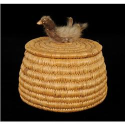 """Inuit Coiled Grass Basket with Bird Finial on Lid 7"""" D. 6 3/4"""" H.  Good Condition NOT ALLOWED TO SHI"""