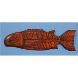 """""""Tyee"""" Chinook Salmon Panel - Carved Yellow Cedar by Peter Andrew 44"""" L. 13"""" W.  Fine Condition"""