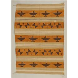 """Navajo Rug with Eagle and Cross Pattern 48""""x 63""""  As Is"""