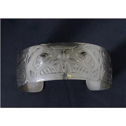 "Silver Bracelet with Bear Design Signed LKM 6 1/4"" L. 1"" W.  Fine Condition"