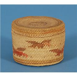 """Nuu-chah-nulth Lidded Baskets with Eagle Motif 3"""" D. 2"""" H.  Good Condition"""