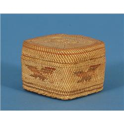 """Nuu-chah-nulth Lidded Baskets with Eagle Design 2 1/2"""" Sq. 1 3/4"""" H.  Good Condition"""