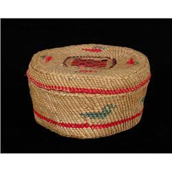 """Makah Lidded Basket with Bird Design 4 3/4"""" D. 2 3/4"""" H.  Good Condition"""