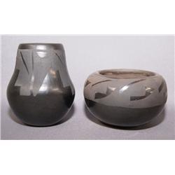 TWO SANTA CLARA POTTERY JARS