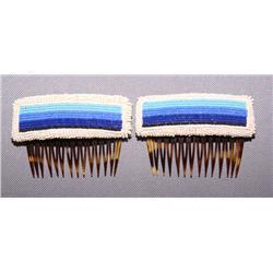PAIR OF NAVAJO BEADED HAIR COMBS