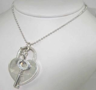 Tiffany Co Silver Heart Lock Key Pendant Necklace