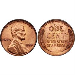 Small Cents 1955 DDO Mint State 64. RB
