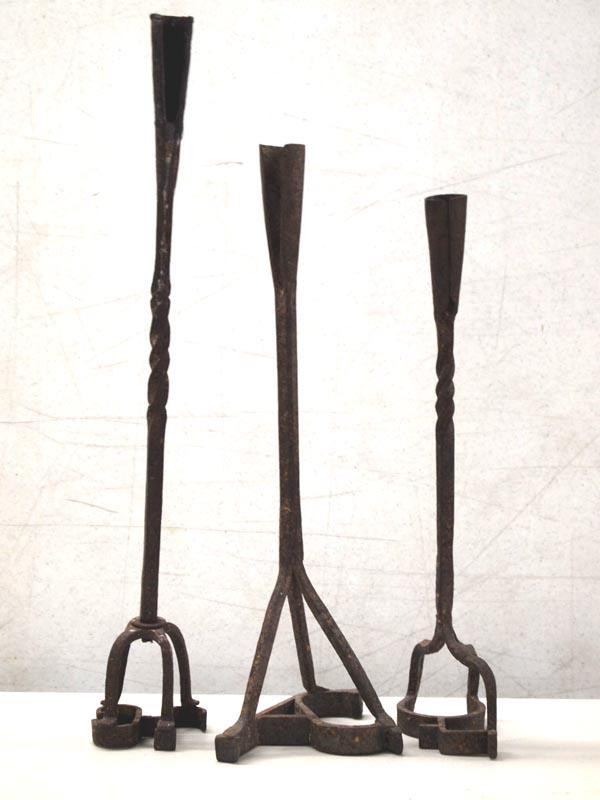 Antique Forged Branding Irons Candle Holders