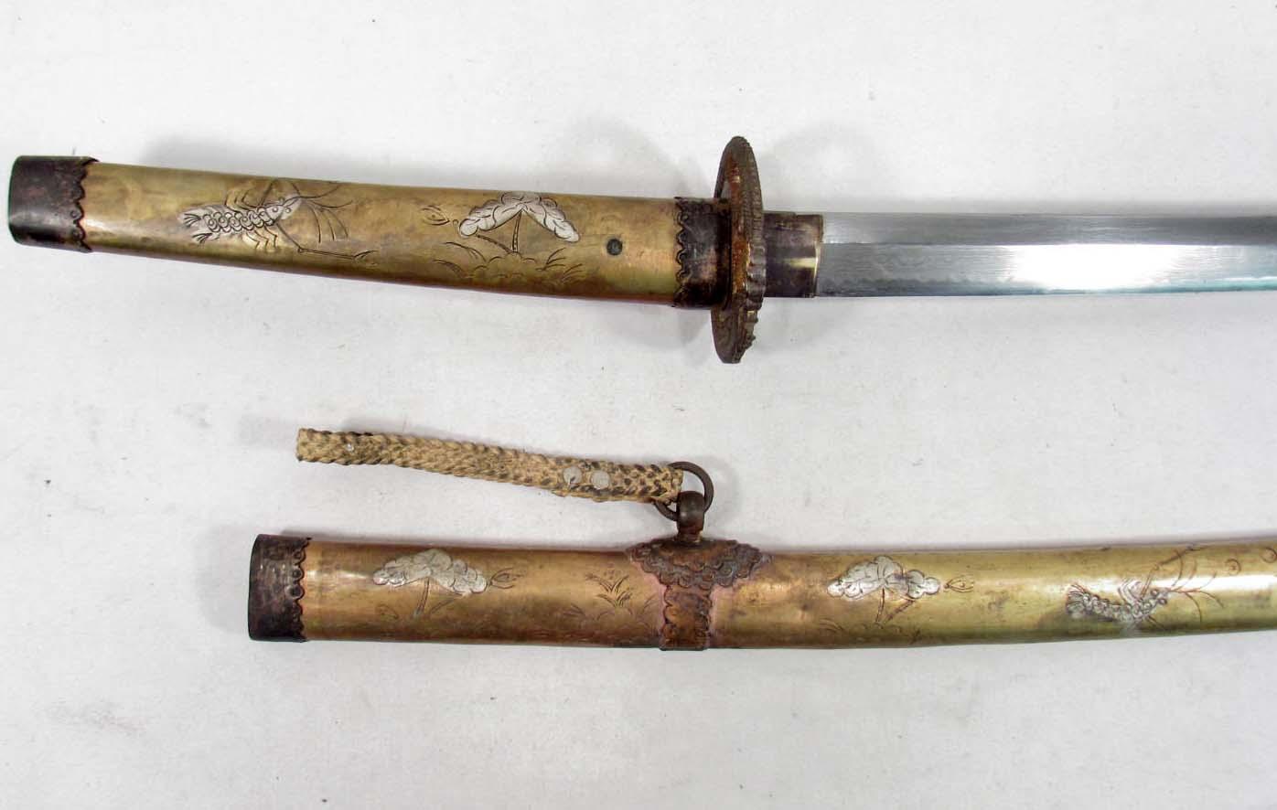 RARE JAPANESE SAMURAI / KATANA SWORD W/ DETAILED SAYA / SCABBARD - SIGNED  BLADE