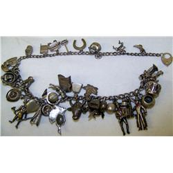 (2) Sterling Silver Charm Bracelets w/ Old English & Indian motif charms.Bracelets weigh 109.2 Grams