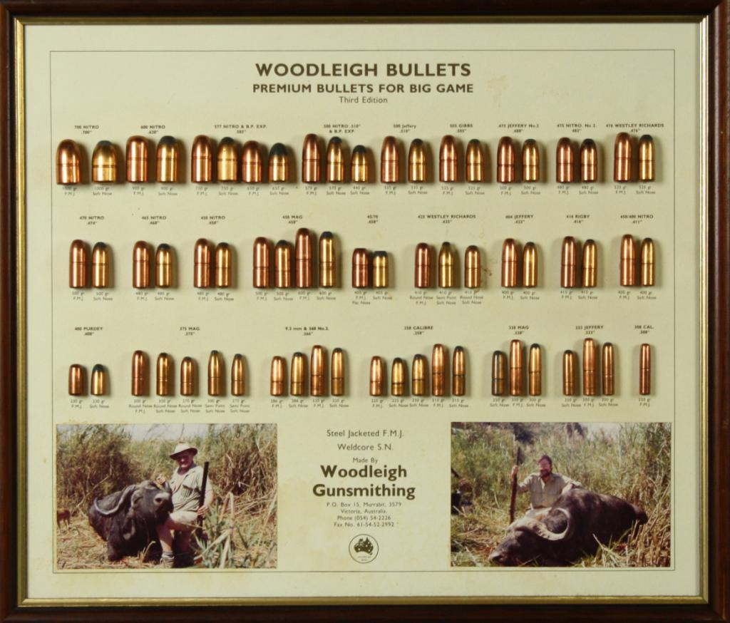 "Framed bullet board entitled ""Woodleigh Bullets' Premium Bullets for Big  Game, Third Edition by Wo"