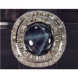 18K WHITE GOLD STAR SAPPHIRE AND DIAMOND RING - SIZE 7