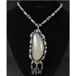 HUGE OPAL AND SILVER NATIVE AMERICAN NECKLACE - SIGNED