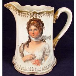 ANTIQUE / VICTORIAN ERA PITCHER W/ BEAUTIFUL LADY ON BOTH SIDES