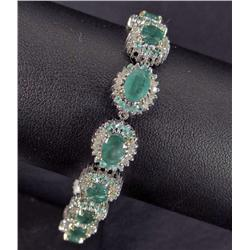 STERLING SILVER AND 18K GOLD PRONGS EMERALD AND DIAMOND BRACELET